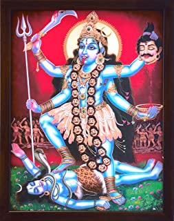 Handicraft Store Hindu Goddess Maa Kali with her Weapons in Battle Field & Ruling Over Shiva, A Rare Hindu Religious Poster Painting with Frame for Worship