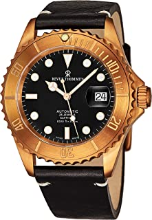 Revue Thommen Diver Mens Rose Gold Automatic Dive Watch - 42mm Black Face with Luminous Hands, Magnified Date, Sapphire Crystal - Black Leather Band Swiss Made Waterproof Diving Watch 17571.2597