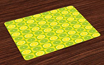 Ambesonne Lime Green Place Mats Set of 4, Lemon and Lime in Pop Art Inspired Pastel Toned Squares Graphic, Washable Fabric Placemats for Dining Room Kitchen Table Decor, Yellow Lime Green