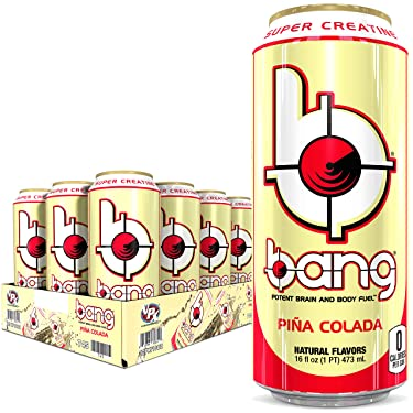 Bang Energy Drink with Zero Calories & High Caffeine, Pina Colada - 12 Drinks - VPX (Vital Pharmaceuticals), 16 Fl. Oz (12 Count)