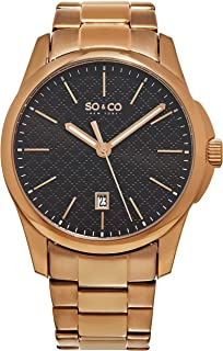 Men's 5095.5 Madison Quartz Black Square Design Dial Date Luminous Hands 16K Rose Tone Stainless Steel Link Bracelet Watch
