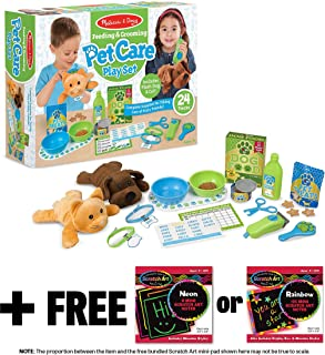 Melissa & Doug Feeding & Grooming Pet Care: Playset + 1 Scratch Art Mini-Pad Bundle (#08551)