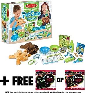 Melissa & Doug Feeding & Grooming Pet Care: Playset + 1 Scratch Art Mini-Pad Bundle (#08551)