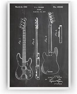Telecaster Bass Guitar 1953 Patent Print - Póster Con Diseños Patentes Decoración de Hogar Inventos Carteles - Marco No In...