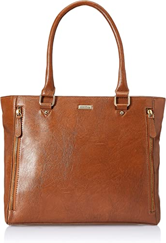 womens Front Zip Panel Handbag Tan