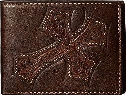 M&F Western - Large Tooled Cross Overlay Bi-Fold Wallet