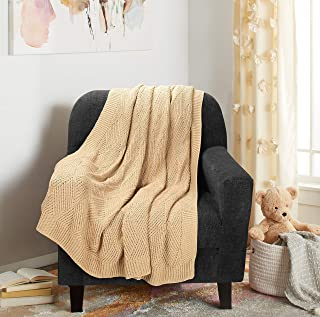 Glamburg Knitted Throw Blanket for Couch Sofa Bed and Everyday Use 50x60, Cotton Throw Blankets for Adults, All Season Diamond Knit Throw Blanket, Cotton Knitted Throw Blanket Linen Beige