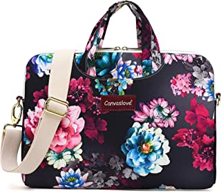 Canvaslove Color Lotus Pattern Water Resistant Laptop Shoulder Messenger Bag Case for MacBook Pro 16 inch,15 inch Surface Laptop 3,Surface Book 2 and 14 inch,15 Inch,15.6 Inch Laptop