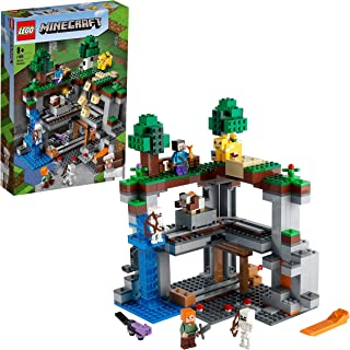 LEGO 21169 Minecraft The First Adventure Nether Playset with Steve, Alex, Skeleton, Dyed Cat, Moobloom and Horned Sheep