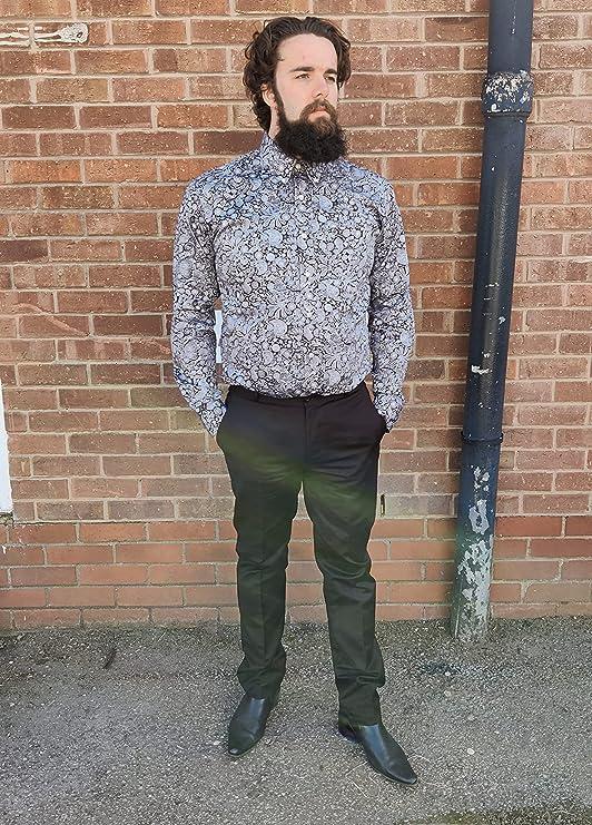 1960s Mens Shirts | 60s Mod Shirts, Hippie Shirts Relco Mens Platinum Black Paisley Shirt £39.99 AT vintagedancer.com