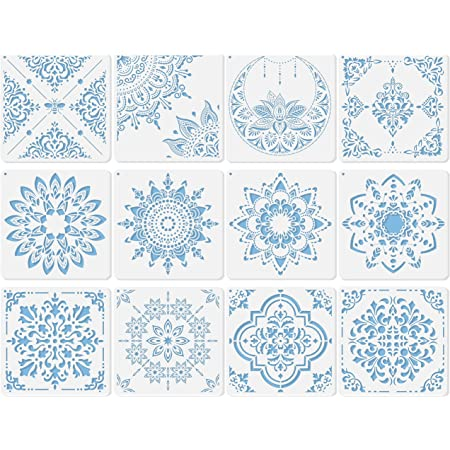 12 Sets Geometric Honeycomb Stencils Art Painting Templates Stencils for Scrapbooking Drawing Tracing DIY Furniture Wall Floor Decor 7.87 x 7.87 Inch