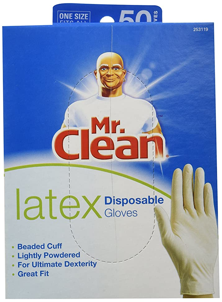 なすお祝い印刷するMR. CLEAN LATEX Disposable Cleaning Gloves for ULTIMATE DEXTERITY (50 Count) by Butler Home Products LLC