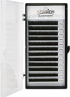 LASHVIEW 0.07 Thickness D curl Silk Mink Eyelash Extension 9mm Premium Volume Lashing Building Individual Lash Extensions Semi-permanent False Eyelashes Handmade Soft False Eyelashes (Salon Use)