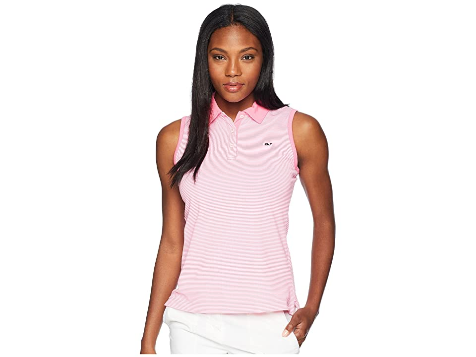 Vineyard Vines Golf Sleeveless Stripe Pique Sport Polo (Malibu Pink) Women