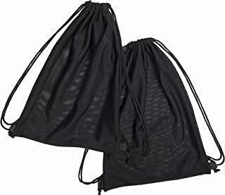 2 Multi Functional Mesh Bag with Drawstring Shoulder Straps for Swimming, Beach, Diving, Travel, Gym - 2 Pack Black (16 x 12 inch, Wet-or-Dry-Environment)