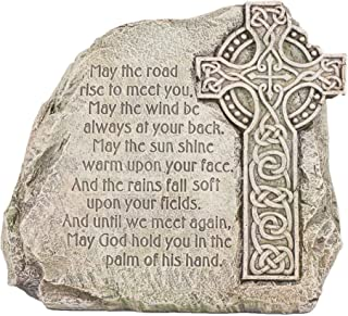 Roman Celtic Cross Garden Stone - Irish Blessing