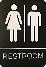 Corko Signs Unisex Braille Restroom Sign - Bathroom Sign with Double Sided 3M Tape