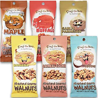 Crazy Go Nuts Walnuts Sampler 6-Pack - Banana, Buffalo, Coconut, Garlic Parmesan, Maple, and Oatmeal Cookie - Healthy Snac...