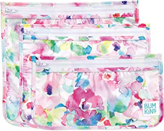"""Bumkins TSA Approved Toiletry Bag, Travel Bag, Quart Zip Pouch, PVC-Free, Vinyl-Free, Clear Sided, Set of 3 – Watercolor, 5"""""""