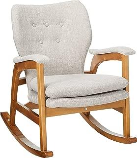 Christopher Knight Home Bethany Mid Century Fabric Rocking Chair (Wheat), Light Walnut