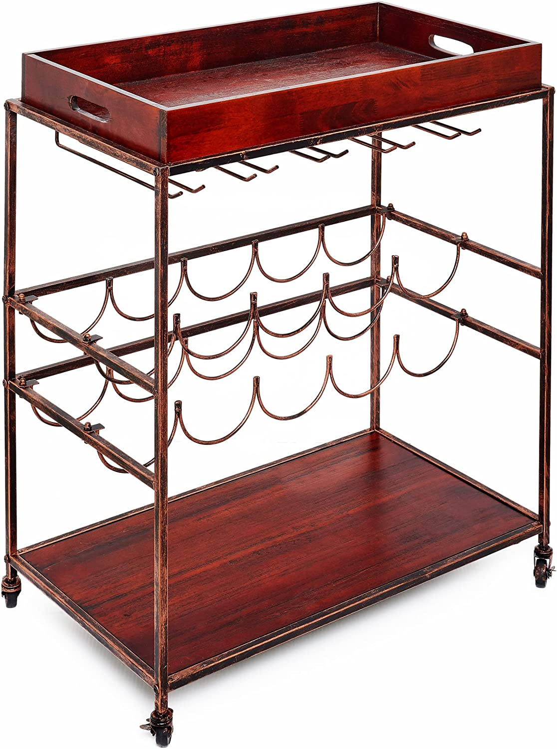 Old Dutch 612BC Avalon  Wine Serving Cart 28  x 16  x 32  Antique Copper pinkwood Stained Rubberwood