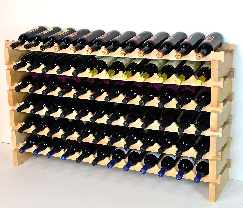 Stackable Wine Rack-72 Bottles Modular Very Racks Hardwood 40% OFF Cheap Sale Mail order cheap