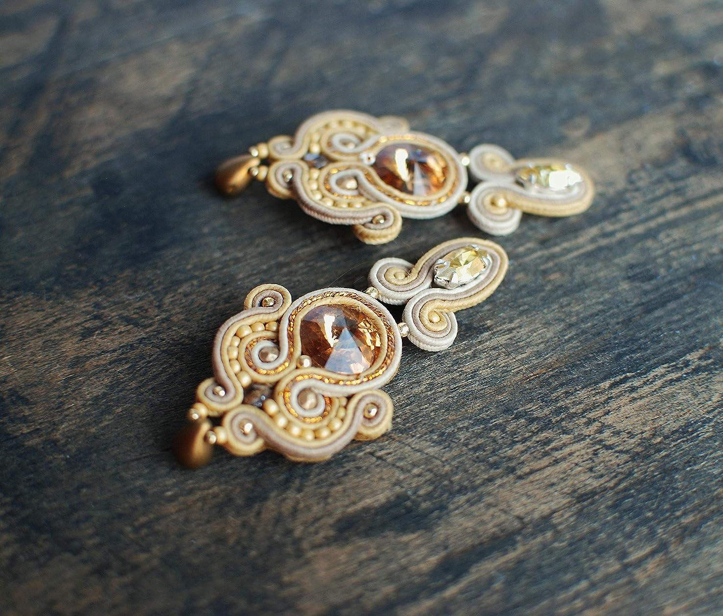 Soutache handmade dangle ivory beige gold orange earrings with Swarovski crystals, Embroidered beaded boho long shiny jewelry, Bohemian evening cocktail wedding bridal earrings, Ethnic oriental