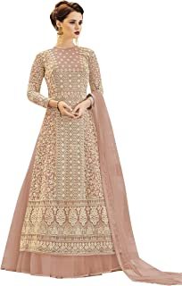 ZORY Indian Wedding Wear Light Pink Color Net Fabric Viscose Embroidery Pakistani Wedding Dresses For Women (Semi-Stitched)