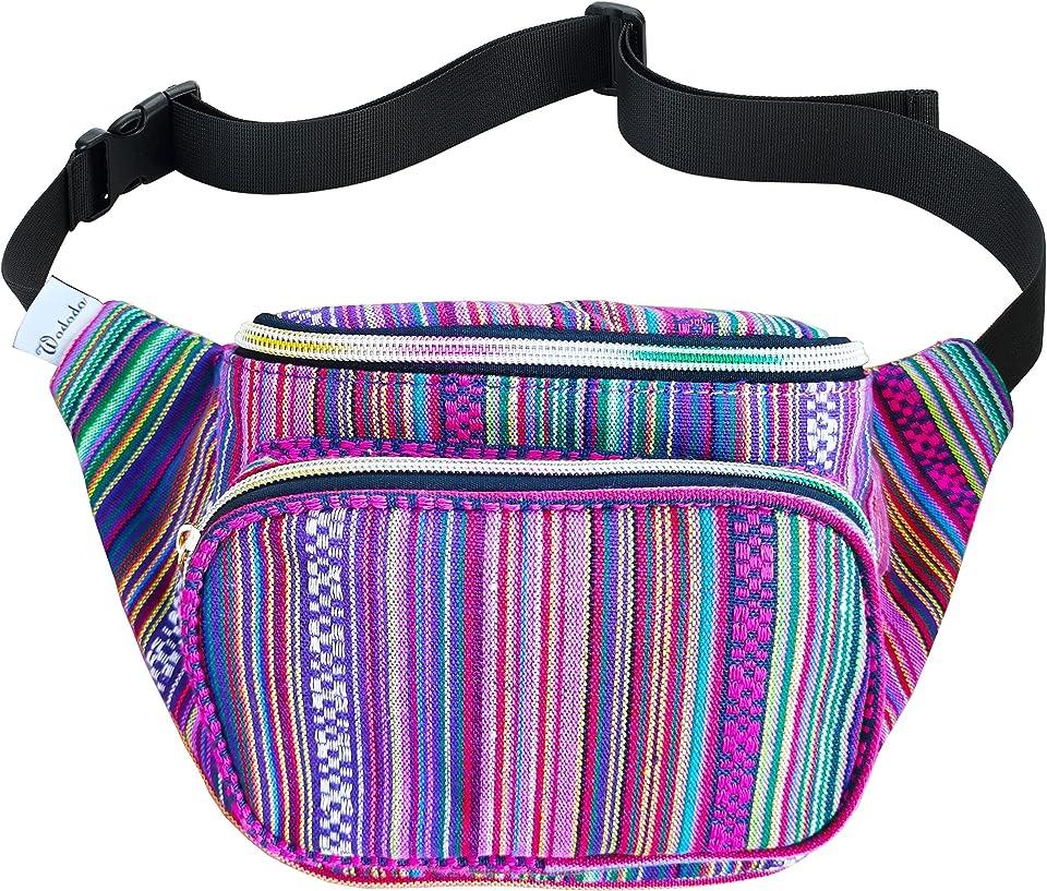 Festival Boho Fanny Pack Hippy Eco Tribal Design colorful Crossbody Hip Bag Handmade Waist Pack (A-Violet stripe)