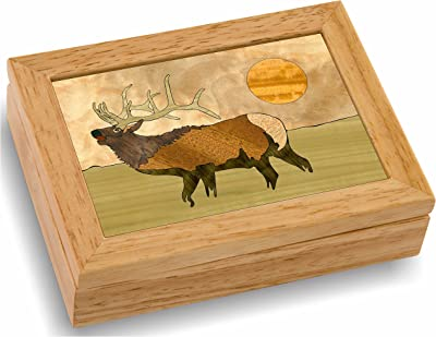 MarqART Elk Wood Art Gift Trinket Box & Jewelry Boxes - Handmade USA -Unmatched Quality - Unique, No Two are The Same - Original Work of Wood Art (#4107 Elk Calls 4x5x1.5)