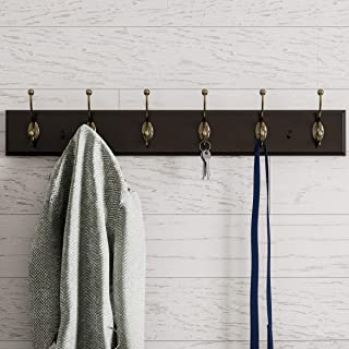 Lavish Home Wall Rail-Mounted Hanging Rack with Hooks-Entryway Hallway, or Bedroom-Storage Organization for Coats, Black, NA