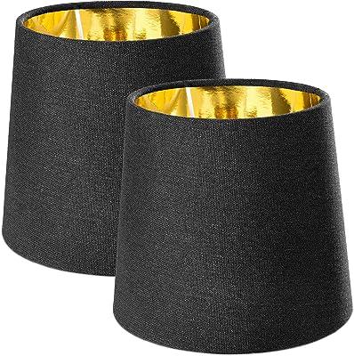 Navaris 2x Abat-jour – Set 2 abat-jour noir intérieur doré pour ampoule E14 – Diamètre intérieur 29mm compatible avec ampoules correspondantes
