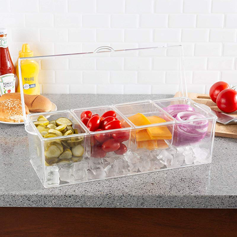 Classic Cuisine 82 KIT1084 Cold Condiment Tray Chilled Serving Container With Ice Chamber 4 Compartments Lid For Dips Dressings Fruit Veggies And More Clear