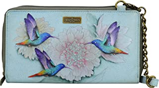 Anuschka Hand Painted Leather Women's Zip Around RFID Crossbody Clutch