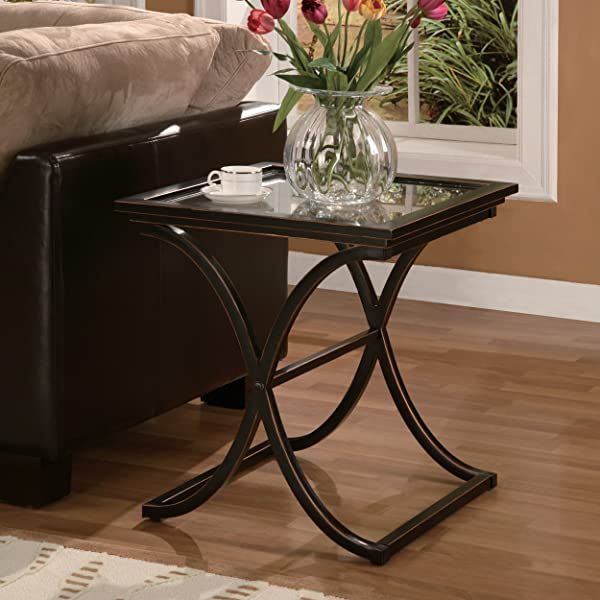Southern Enterprises Vogue Side End Table Black With Copper Distressed Finish