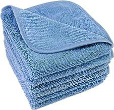 Polyte Premium - Tvättlappar/Ansiktshandduk - luddfri - mikrofiber - 6-pack - blå - 33 x 33 cm