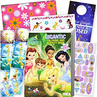 Disney Coloring Book and Stickers Gift Set - Bundle Includes Gigantic 192 pg Disney Coloring Book, Disney Stickers, and 2-Sided Door Hanger in Specialty Gift Bag (Disney Fairies Tinkerbell)