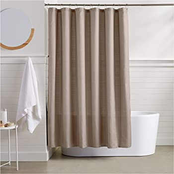 AmazonBasics Linen Style Shower Curtain - 72 Inch, Taupe