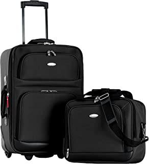Let's Travel 2pc Carry-on Luggage Set, Black