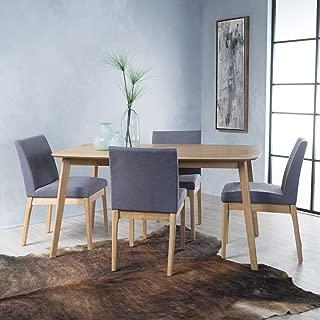 Christopher Knight Home Katherine Dark Grey Fabric/Natural Oak Finish 5 Pc Dining Set, Brown