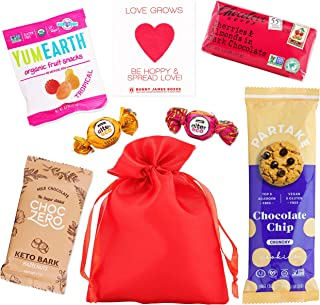 Healthy Valentine's Day Gift Bag - Variety of Non-GMO Candy, Chocolate & Seed Paper in Cute Red Satin Gift Bag - Valentine...