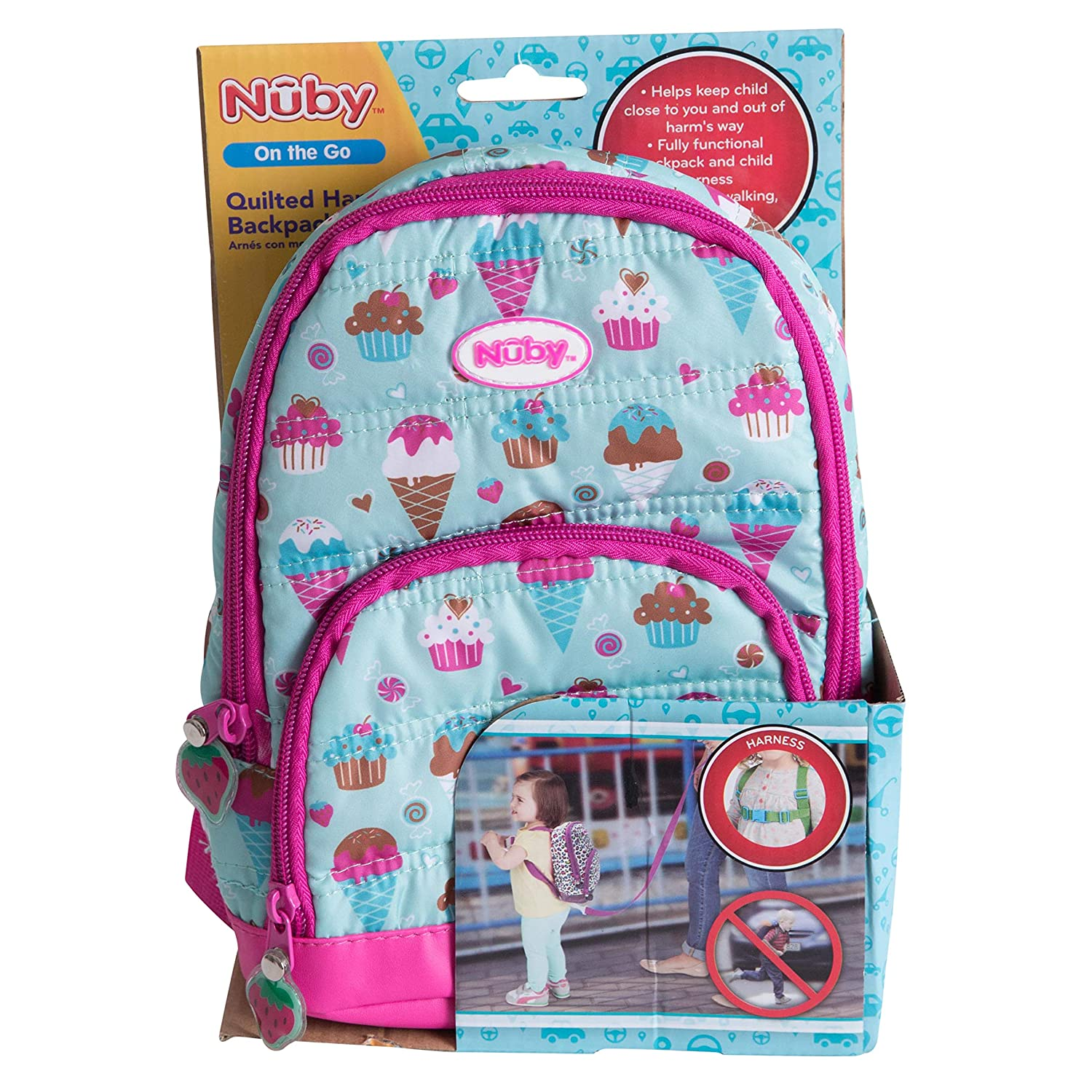 Nuby Quilted Sweet Girl Backpack with Safety Harness Leash, Child Baby Toddler Travel