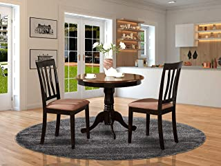 ANTI3-BLK-C 3 PC Kitchen Table set-round Kitchen Table plus 2 Dining Chairs