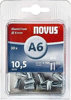 Novus 045 0075 A6 Blindnietmutter Ø6 mm Aluminium, 30 Nietmuttern, M4 Gewinde, 10.5 mm Länge, für Kunststoff und Leichtbaumaterial, Silber