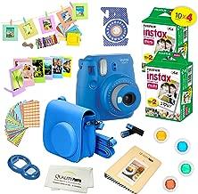 Fujifilm Instax Mini 9 Camera + Fuji INSTAX Instant Film (40 SHEETS) + 14 PC Instax Accessories kit Bundle, Includes; Instax Case + Album + Frames & Stickers + Lens Filters + MORE (Cobalt Blue)