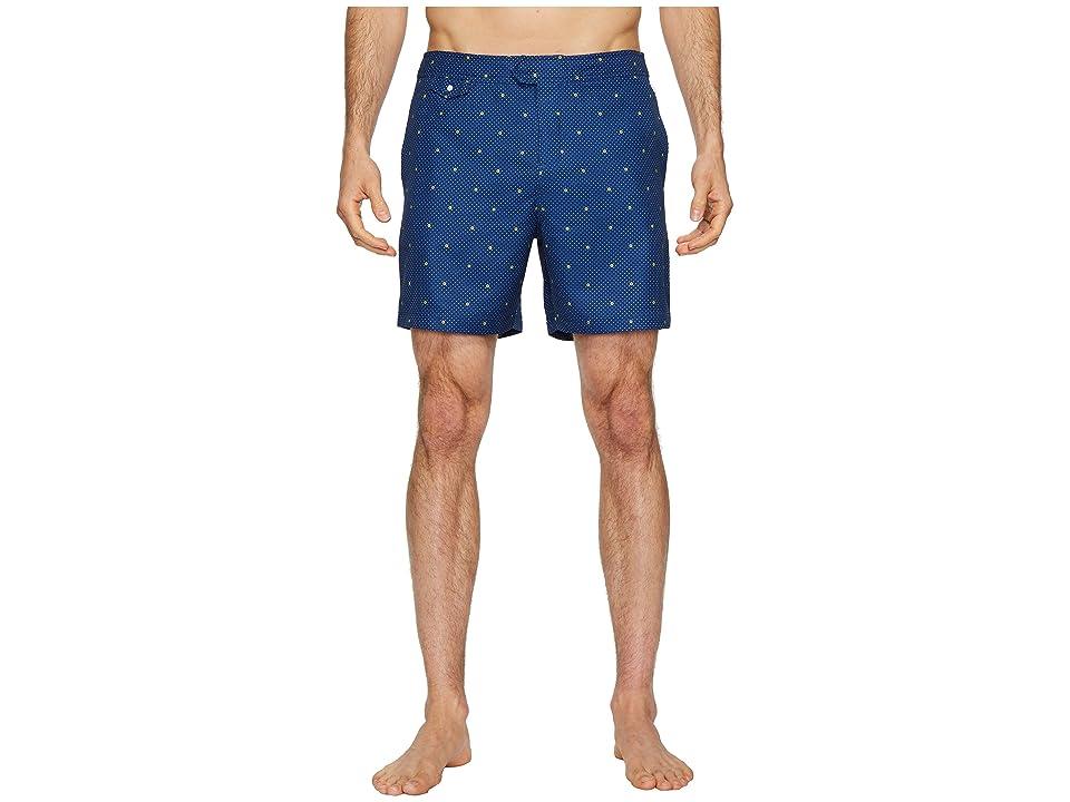 Original Penguin Polka Dot Lemon Fixed Volley Stretch Swim Shorts (Blue Depths) Men