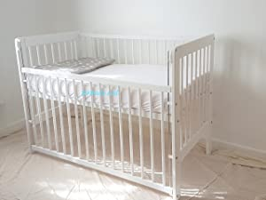 Baby Dropside Cot Bed White Junior Toddler Bed with Foam Mattress