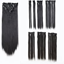 SWACC Women 22 Inches Straight Full Head 7 Separate Pieces Heat Resistance Synthetic Hair Clip in Hair Extensions (1B-Off Black)