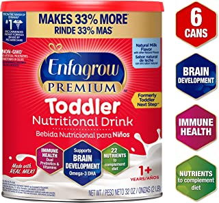 Enfagrow Premium Toddler Nutritional Milk Drink, Natural Milk Flavor Powder, 32oz Can, From the Makers of Enfamil- Omega 3 DHA Prebiotics Non-GMO, 6 Cans (Formerly Toddler Next Step, Package May Vary)