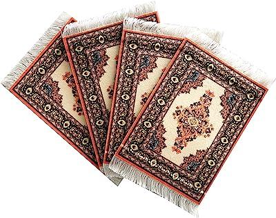 Inusitus Set of 4 Carpet Coasters - Rug Table Drink Holders - Oriental Design Fabric Elegant Carpets (Beige-Set-4)